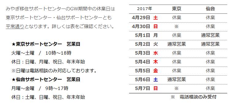 みやぎ移住サポートセンターのゴールデンウィーク期間中の休業日は、 東京サポートセンター・仙台サポートセンターともに平常通りとなります。詳しくは表をご覧下さい。